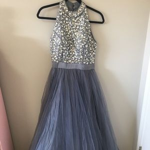 Sequinned silver prom dress